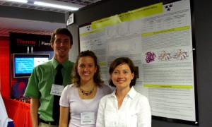 Colin Boettcher ('09), Chelsea Koepsell, and Brenda Kelly at the Protein Society meeting in July